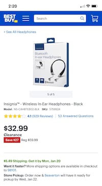 Insignia Bluetooth Headphones Lake Oswego, 97035