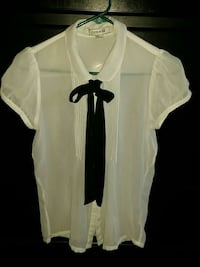 white sheer button-up t-shirt