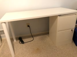 Bisley White desk and filing cabinets