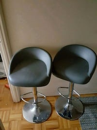 two black leather padded bar stools Toronto, M9A