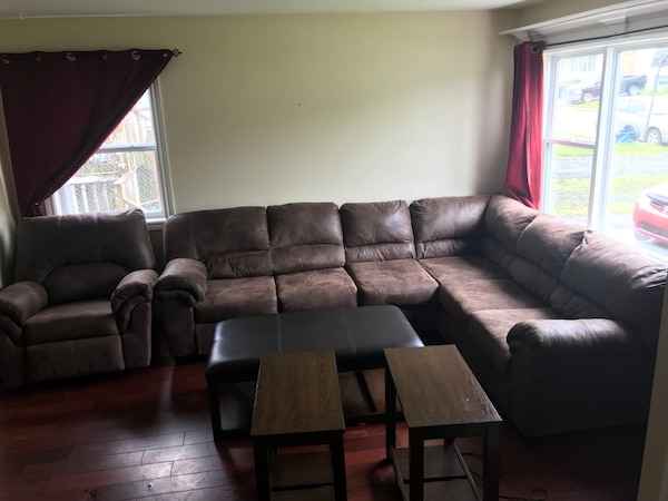 Used Brown Suede Sectional Sofa Matching Recliner And Coffee Table 2