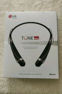 black LG Tone Pro bluetooth headset box