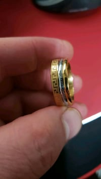 versace Brand Italy Ring Men Gold Silver Sz11New