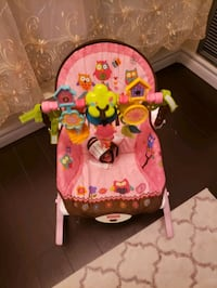 baby's pink and green Fisher Price bouncer Toronto, M1B 5K6