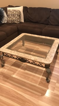 Wrought iron/glass coffee table