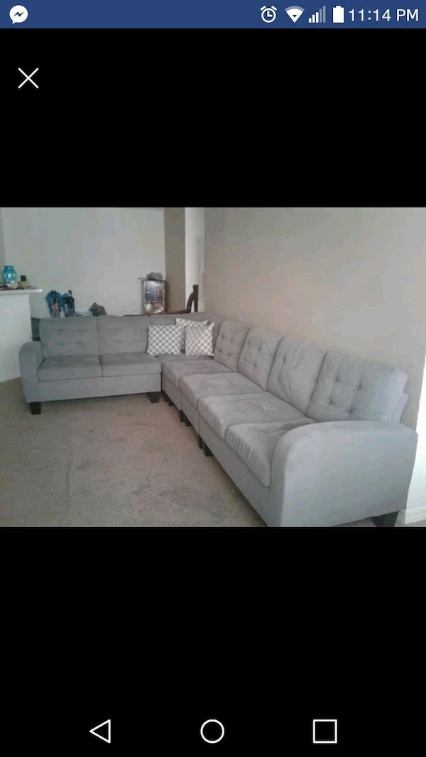 Used gray fabric sectional sofa screenshot for sale in Orlando - letgo
