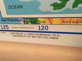 Vintage Rand&McNally pull down Canada school map