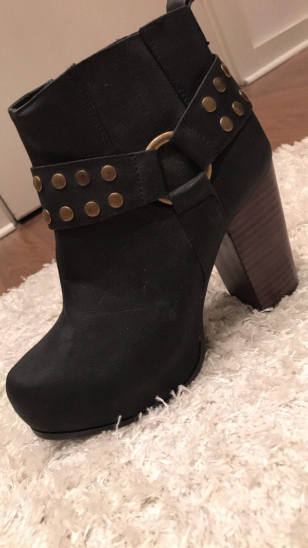 studded black suede close-toe heeled booties
