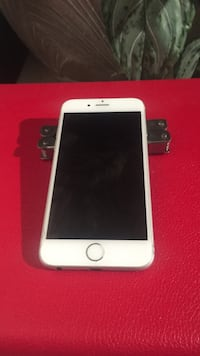 silver iPhone 6 with red case