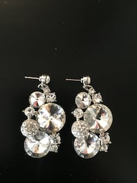 pair of silver-colored earrings with clear gemstones Bolton, L7E 1H7