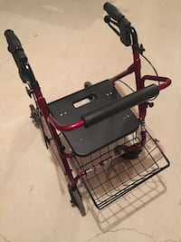 Walker rollator with seat and basket