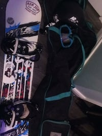 Black and blue snowboard with bindings Scugog, L0B 1E0