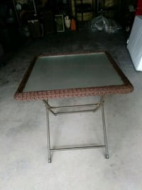 Glass Top Wicker Table