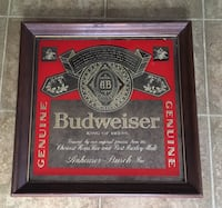 Budweiser Anheuser-Busch Beer Vintage Glass Mirror 14x14 Indianapolis, 46222