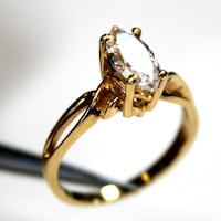14k Marquise cut CZ Gold RIng