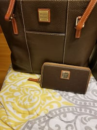 brown leather tote bag and long wallet
