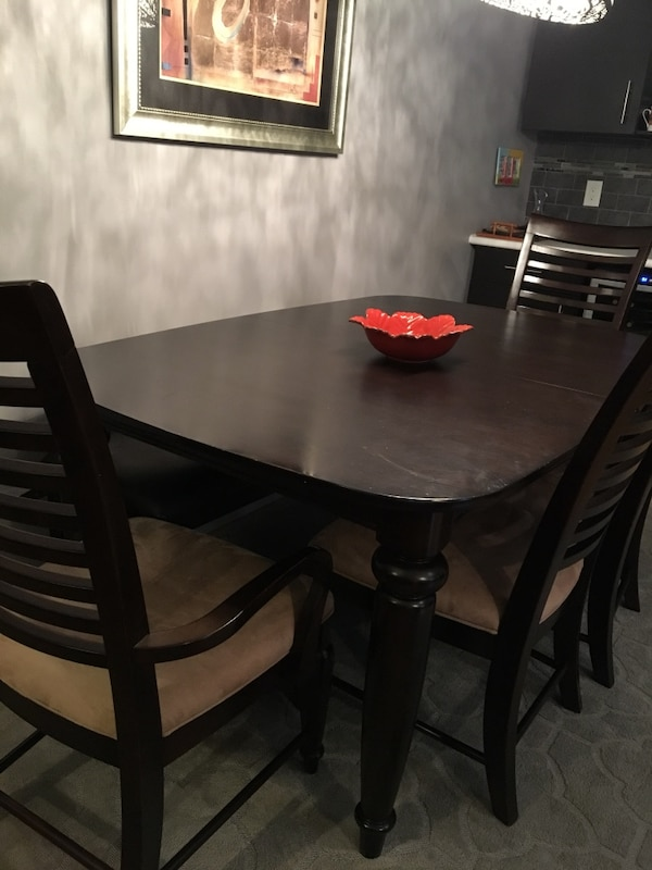 Used Rectangular Brown Wooden Table With Six Chairs Dining Set For Sale In Winnipeg