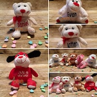 Five assorted bear plush toys collage