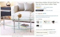 Like new glass coffee table  Adelphi