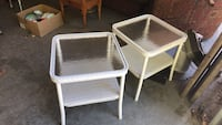Pair glass top wicker end tables  Litchfield, 03052