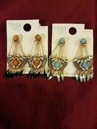 two gold colored earrings with brown and teal Hollywood, 33029
