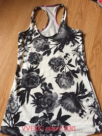 white and black floral racerback tank top