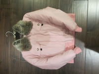 gray and pink faux fur jacket Burlington