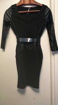 black leather and cotton  scoop-neck long-sleeved dress
