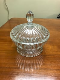 """Vintage Heavy Ribbed Clear Glass 6"""" Pedestal Candy Dish Bowl and Lid Bellevue, 68147"""