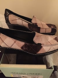 Suede and Leather Black and Tan Wedge Loafers by Donald J. Pliner Bensville, 20603