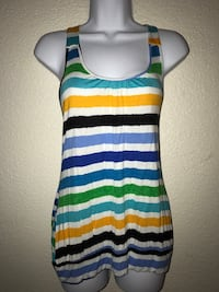 Large women's White and multi-colored striped tank top