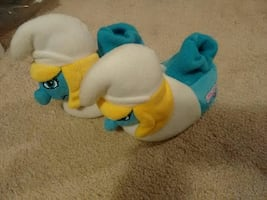 pair of Smurfette house slippers