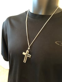 Silver chain link necklace with cross pendant with Lord's prayer