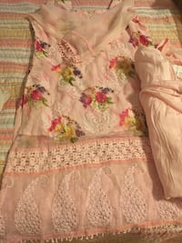 White and pink floral dress