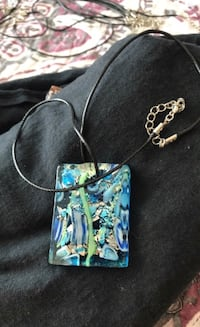 Handmade Glass multicolor glass pendant on black leather chain