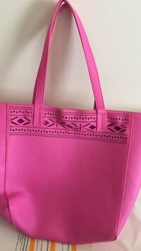 pink and black leather tote bag Clive, 50325