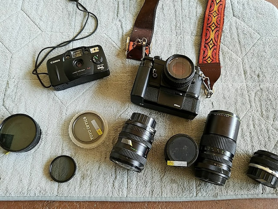 Used, two black camera with lenses for sale  Glendale