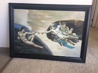 Creation of Adam painting with brown wooden frame