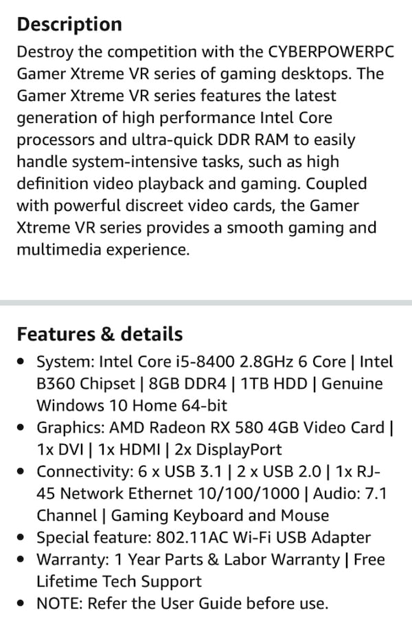 CYBERPOWERPC Gamer Xtreme  Desktop Gaming PC 5
