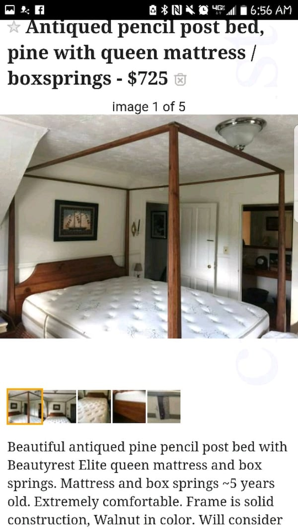 Pencil Post Bed With Queen Mattress