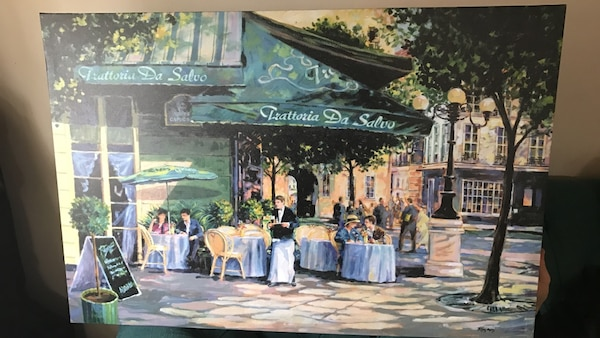restaurant on the street painting