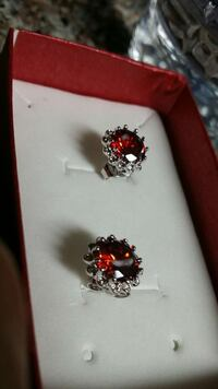 Gorgeous white gold filled Red earrings New in box