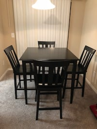 rectangular black wooden table with four chairs dining set Covington, 30016