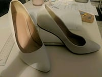 New heel white leather pumps new