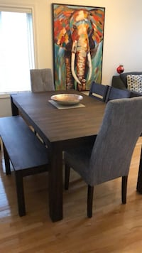 "Beautiful Dining Set - ""Jade dining table and server"" solid wood, two head chairs 1 bench and 2 dining chairs. Barely used. Moving Sale Richmond Hill, L4E"