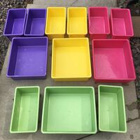 12 Stackable Multi-color Plastic Bins for $5