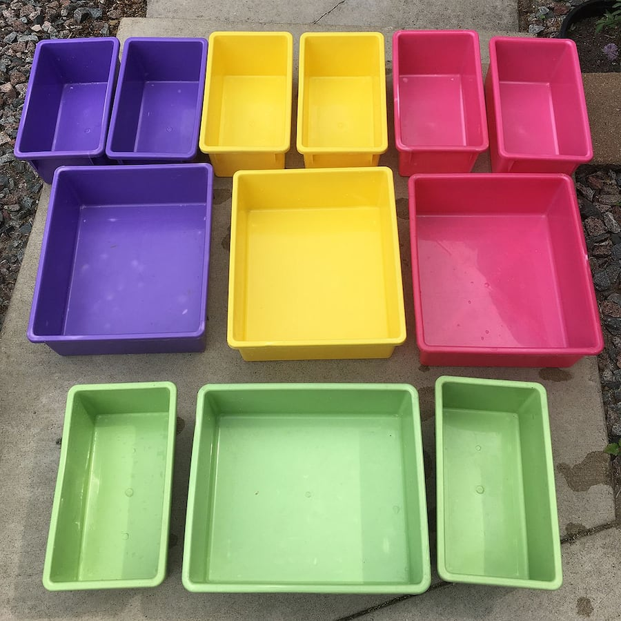 12 Stackable Multi-color Plastic Bins for $5 a00f34cc-ee7c-49a7-9dfc-b54d94b10afd
