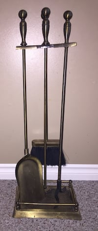 Vintage solid brass fireplace tools set Calgary, T3E 6L9