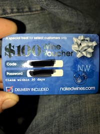 100.00 wine gift certificate. Selling fir half off because I don't drink Concord, 03301