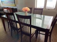 Glass and Wood Dining Table Set Edmonton, T6R 1C5